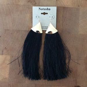 Natasha black fringe earrings